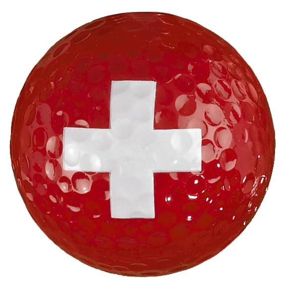 Golfball mit Schweizer Kreuz