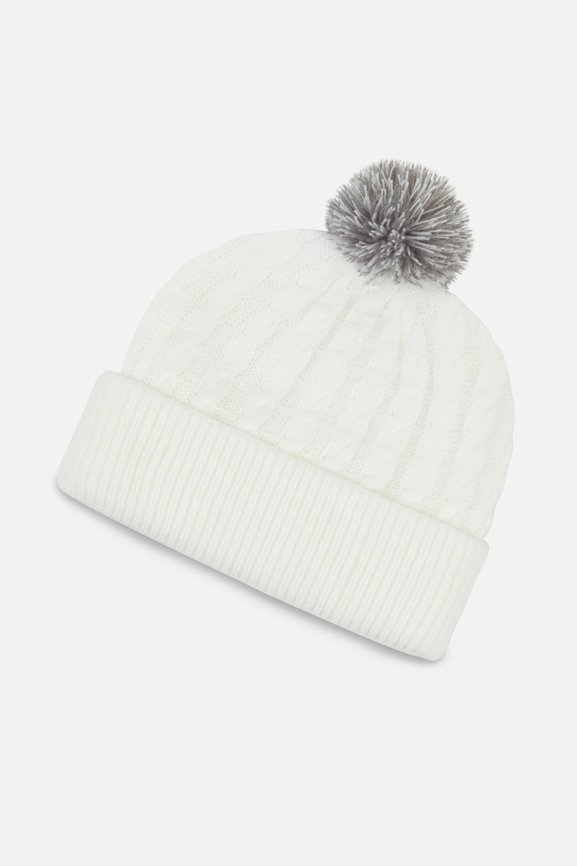 Mütze Cable Knit Pom Pom